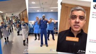 A three-part composite shows nurses dancing, with London Mayor Sadiq Khan in a video message to them too