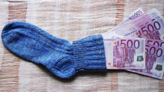 Çorap içinde 500 euroluk banknotlar