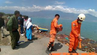 Rescue teams search for survivors. Photo: 29 September 2018