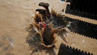 A participant hits the water in the Mud Day Race