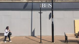 Boarded-up building in Northampton town centre which used to house BHS.
