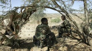Ethiopian soldiers on a hilltop outpost overlooking the town of Badme in 2005