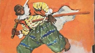 Yasuke représenté dans un livre pour enfants japonais par Kurusu Yoshio.