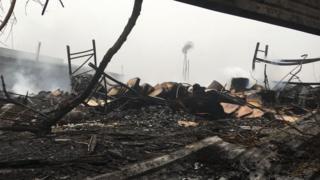 Scene of fire Monday morning
