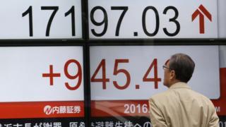 日経平均株価を示すボード