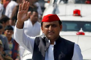 Akhilesh Yadav, Chief Minister of the northern state of Uttar Pradesh and the son of Samajwadi Party (SP) chief Mulayam Singh Yadav, waves at his supporters during a Rath Yatra, or a chariot journey, as part of an election campaign in Lucknow, India on November 3, 2016.