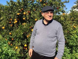 Abdullah Cangil in his garden
