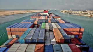 Container ship in Suez Canal (file pic)