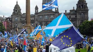 демонстрация сторонников независимости Шотландии в Глазго