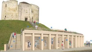 Artist's impression of visitor centre at base of Clifford's Tower