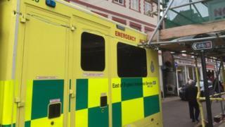 Ambulance that hit scaffolding