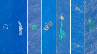 Aerial view of rubbish spotted in Great Pacific Garbage Patch