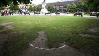 Remains of a social distancing circle in Old Eldon Square