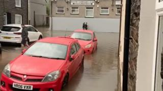 Pentre has been struck by flooding following rain on Wednesday