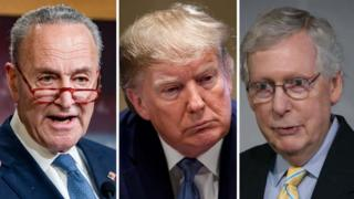 Composite image of Chuck Schumer, Donald Trump and Mitch McConnell