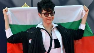 Kristian Kostov with Bulgarian flag in Kiev, Ukraine. Photo: 7 May 2017