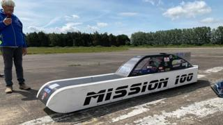 Mission 100 vehicle that will be bidding for a land speed record