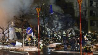 Explosion site in Sapporo