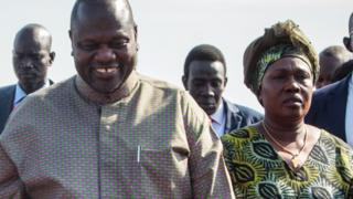 Riek Machar and his wife Angelina Teny