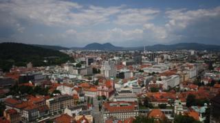 Centro de Ljubljana, capital da Eslovênia