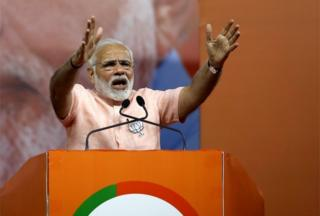 Indian Prime Minister Narendra Modi addresses the Bharatiya Janta Party (BJP) public rally meeting ahead of Karnataka Assembly Election, in Bangalore, India, 08 May 2018