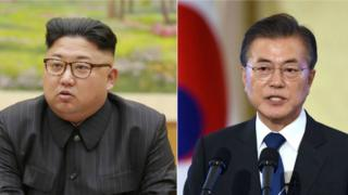 Composite image of Mr Kim (L) and Mr Moon (R)