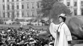 Suffragette Emmeline Pankhurst addressing a meeting in London's Trafalgar Square in 1908