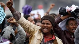 "Protesters chant slogans during a demonstration over what they say is unfair distribution of wealth in the country at Meskel Square in Ethiopia""s capital Addis Ababa, August 6, 2016."