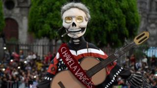 A skeleton depiction of Mexican singer