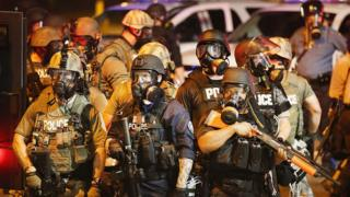 Police in Missouri after the killing of Michael Brown in 2014 (FILE)