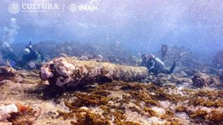 A view of the cannon of the shipwreck found off the Mexican coast