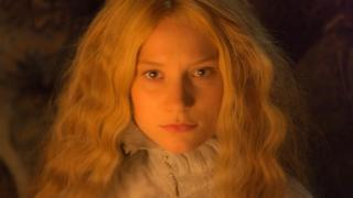 "Mia Wasikowska In this image released by Legendary Pictures and Universal Pictures, Mia Wasikowska, appears in a scene from the film, ""Crimson Peak."""