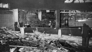 Debris and wreckage at the Mulberry Bush pub