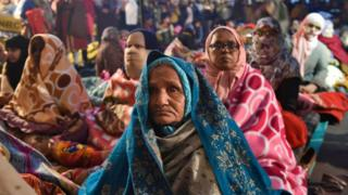 Women protesters along with their children participate in a sit-in against National Register of Citizens (NRC) and recently passed Citizenship Amendment Act (CAA), at Shaheen Bagh