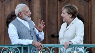 Indian Prime Minister Narendra Modi and Angela Merkel, Germany's Chancellor meet in Berlin