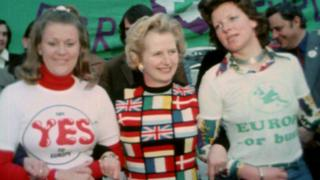Margaret Thatcher campaigning for the UK to remain in the EEC