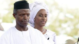 Nigerian Vice-President Yemi Osinbajo beside his wife Dolapo - 2018