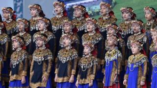 Aboriginal Puzangalan Choir singing the national anthem during new Taiwan President Tsai Ing-wen's inauguration ceremony in Taipei, 20 May 2016