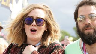 Adele and Simon Konecki backstage at Glastonbury in June 2015