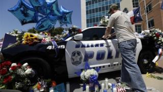 A makeshift memorial at the Dallas police headquarters.