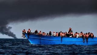 A migrant vessel off Libya (file image)
