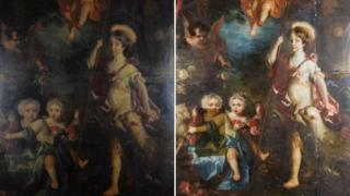 Before and after, Jemima, Airmine and Elizabeth Crewe by Jacob Huysmans