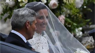 Pippa Middleton in her wedding veil