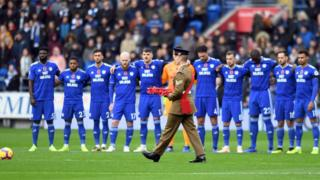 A poppy wreath is laid on the pitch before the Premier League match at the Cardiff City Stadium.
