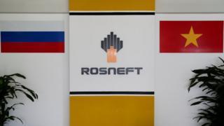 Logo của hãng Rosneft tại chi nhánh Rosneft Vietnam BV ở thành phố Hồ Chính Minh