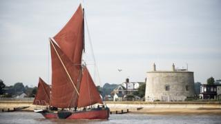 Thames barge Melissa enters the Deben at the beginning of John McCarthy's travels from Debenham to
