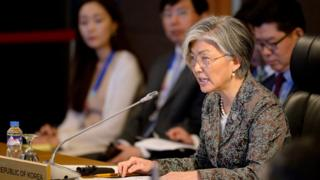 South Korean Foreign Minister Kang Kyung-wha speaks during the ASEAN-Republic of Korea (ROK) Ministerial Meeting at the sideline of the Association of South East Asian Nations (ASEAN) Foreign Ministers' Meeting (AMM) and Related Meetings in Manila, Philippines, 6 August 2017.