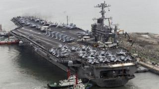 The Nimitz-class aircraft carrier USS John C. Stennis arrives to join the annual Key Resolve military exercise conducted by South Korea and the U.S., at a port in Busan, South Korea, March 13, 2016.