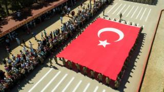 An aerial view of Turkish soldiers parading with a massive Turkish flag