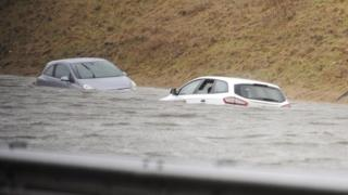 Cars in water